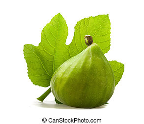 Fig with leaf isolated on white