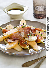 Fig with Melon and Mozzarella salad