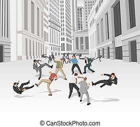 Street fight, conflict between business people on the street of downtown financial district in New York. Financial crisis.