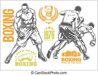 Fight between two boxers - set of monochrome illustrations. Plus vintage boxing emblems, labels, badges, logos and designed elements.