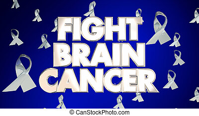 Fight Brain Cancer Disease Ribbons Awareness Campaign 3D Words