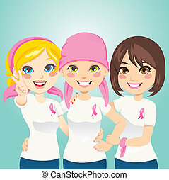 Fight Breast Cancer - Women supporting and helping a friend...