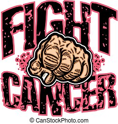 fight cancer team design with large fist for school, college...