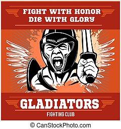 Fight club emblem with gladiator