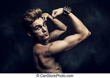 fight club member - Fight club, MMA. Portrait of a bad guy...