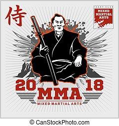 Fight Club print with samurai and katana. Vector...
