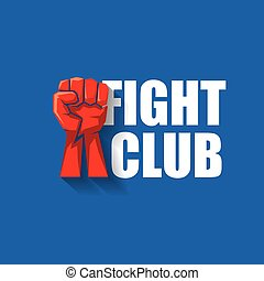 fight club vector logo with red man fist isolated on blue background. MMA Mixed martial arts design template