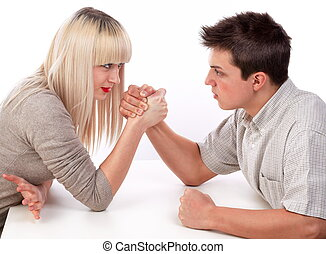 Young woman and man fighting together in skandenberg