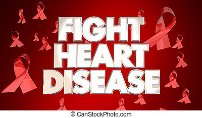 Fight Heart Disease Awareness Ribbons Healthy Lifestyle...