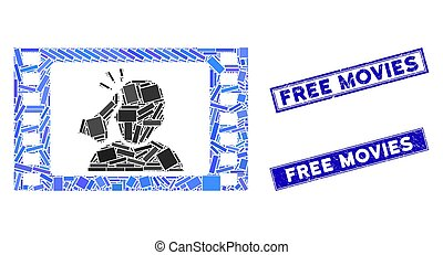 Fight Movie Mosaic and Distress Rectangle Free Movies Stamps...