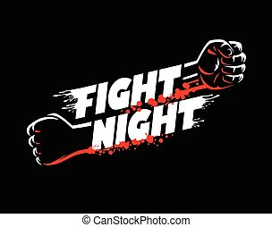 Fight night lettering fists clenched mma cage boxing karate blood spatter on dark background isolated