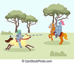 Fight of medieval knights vector illustration. Two men in knightly armor on horses, with spear, shield and sword. Military battle or jousting tournament.