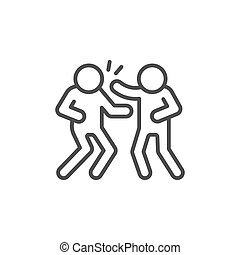 Fight or slaughter line outline icon isolated on white. Vector illustration