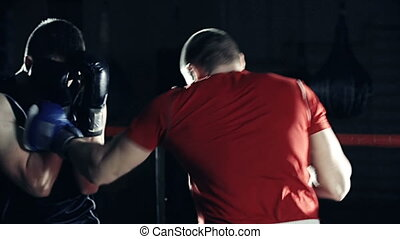 Fight Round  - Close up of two boxers fighting in a round