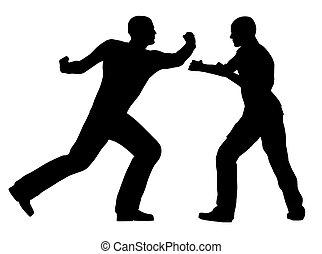 Fight Scene - Two fighters in silhouette over a white...