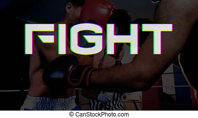 Fight text against boxers fighting with each other in ...
