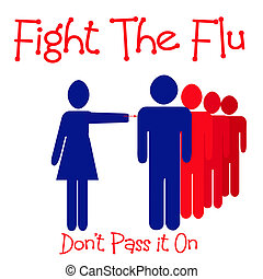 fight the flu - people in line for flu shot illustration red...