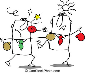 Fight - Two businessmen fighting. It s a competition