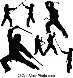 fight vector silhouettes
