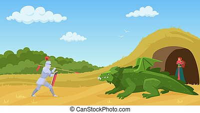 Fight with dragon vector illustration, cartoon flat knight warrior in armor with spear and shield fighting with green fantasy creature monster dragon