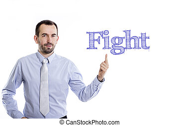 Fight - Young businessman with small beard pointing up in blue shirt