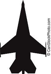 fighter aircraft icon on white background. flat style. airplane symbol. military airplane sign.