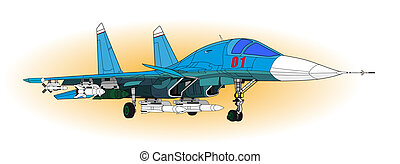 Fighter aircraft - Jet Fighter aircraft, vector