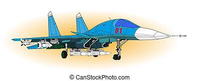 Fighter aircraft - Jet Fighter aircraft, vector