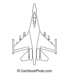 Fighter aircraft outline. Military equipment icon. Vector illustration
