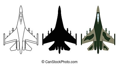 Fighter aircraft silhouette, cartoon, outline. Military equipment set icon. Vector illustration