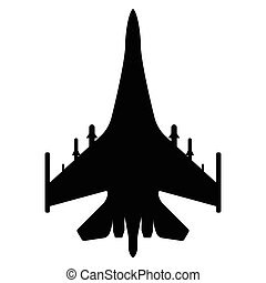 Fighter aircraft silhouette. Military equipment icon. Vector illustration