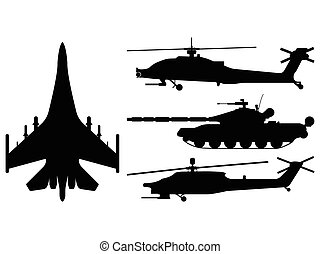 Fighter aircraft, tank, helicopter silhouette. Military equipment set icon. Vector illustration