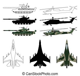 Fighter aircraft, tank, helicopter in silhouette, cartoon, outline style. Military equipment set icon. Vector illustration