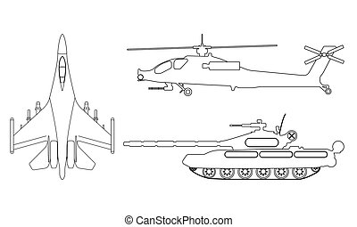 Fighter aircraft, tank, helicopter outline. Military equipment set icon. Vector illustration