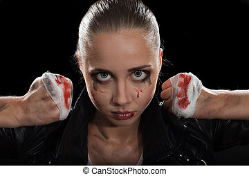 Fighter, angry woman