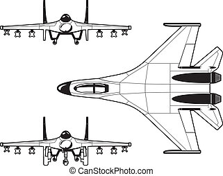fighter - black and white illustration of a pursuit plane.