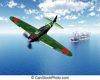 Fighter Bomber and Aircraft Carrier - Computer generated 3D...