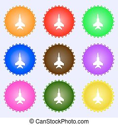 fighter icon sign. A set of nine different colored labels. Vector