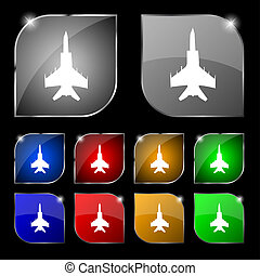 fighter icon sign. Set of ten colorful buttons with glare....