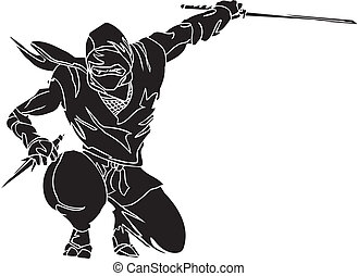fighter, illustration., -, vektor, vinyl-ready., ninja