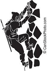 fighter, illustration., -, vektor, vinyl-ready., ninja