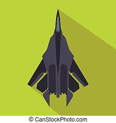 Fighter jet icon in flat style