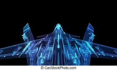 Fighter jet in flight from abstract polygonal line. Low poly...