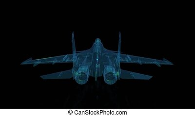 Fighter jet in flight from abstract xray. Rotating seamless...