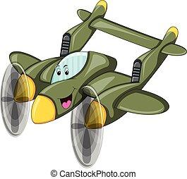Fighter jet - plane funny cartoon vector illustration