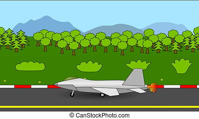 Fighter jet taking off loop video