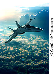 Fighter jet - View of a fighter jet above the clouds