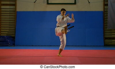Fighter jumping and making karate kata sequence at the dojo...