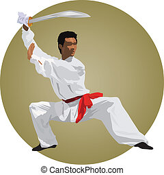 Kung fu fighter with sword. Color vector illustration.
