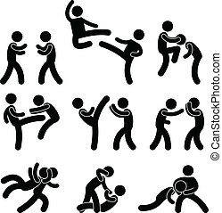 A set of pictogram about fighting and martial arts.